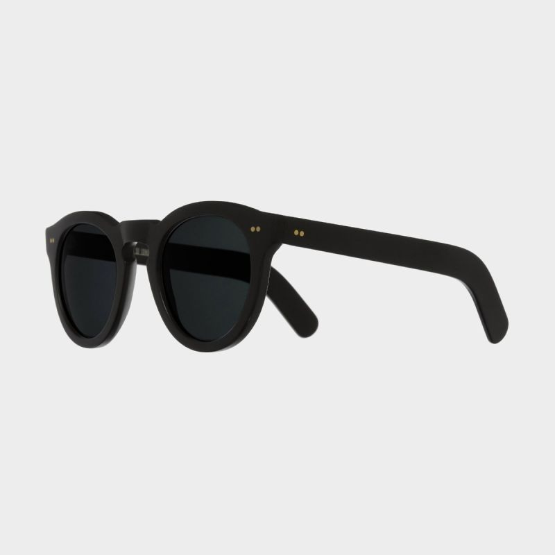 0734 Round Sunglasses (Large)-Matt Black