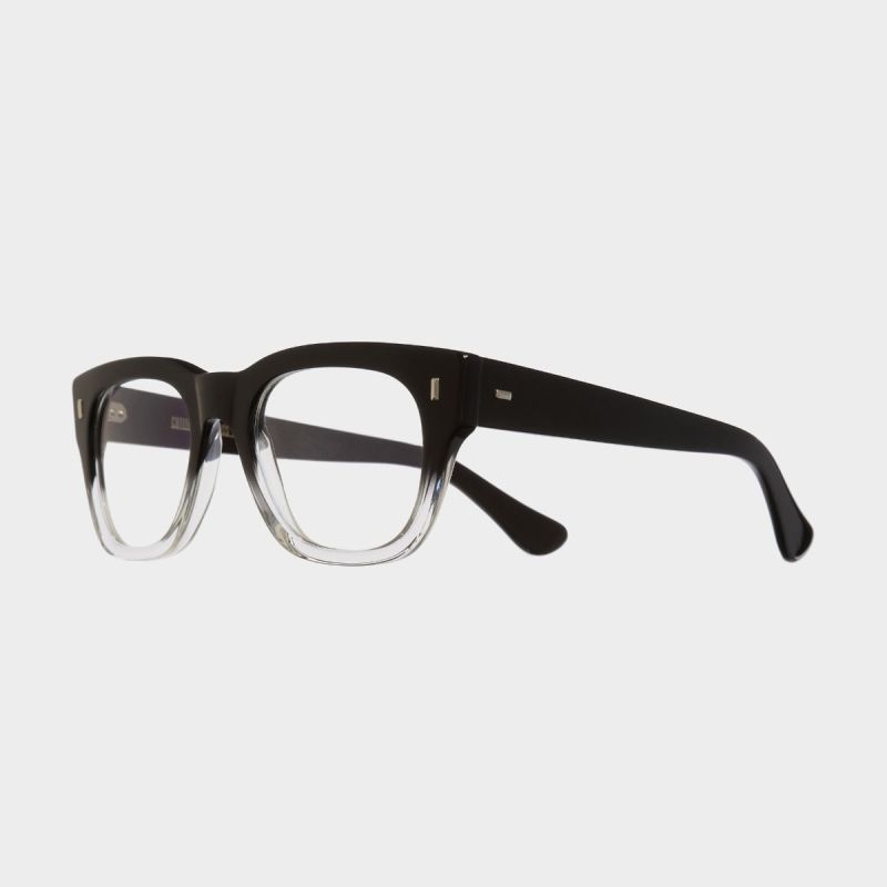 0772V2 Optical Square Glasses-Black to Clear Fade