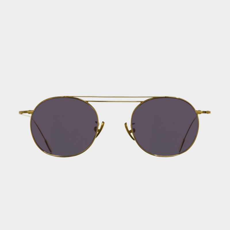 1268 Gold Plated Round Sunglasses