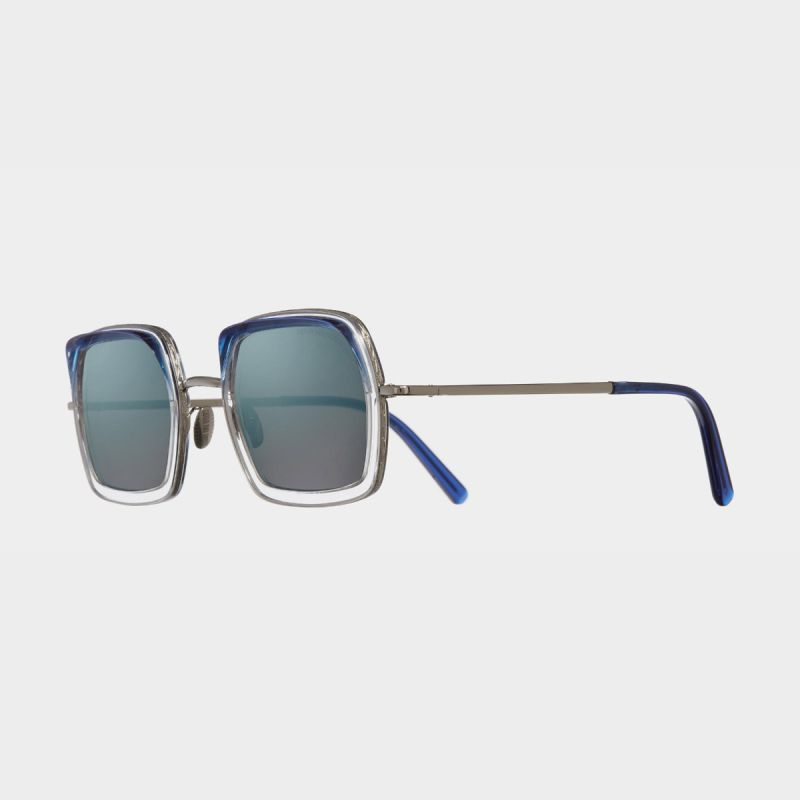 1301 Square Sunglasses-Navy on Crystal