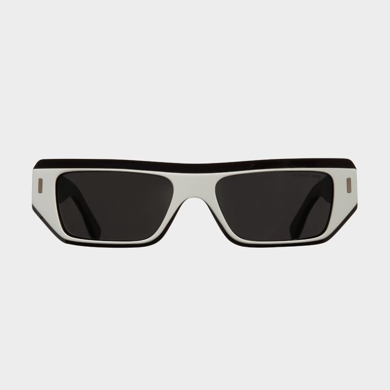 1367 Browline Sunglasses-White on Matt Black