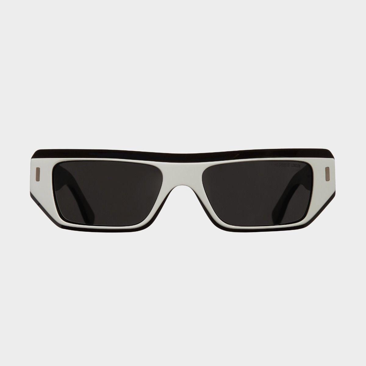 1367 Browline Sunglasses-White on Matt Black